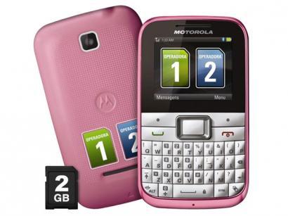 Celular Dual Chip Motorola Motokey EX109 Rosa - Câmera 2MP Teclado Qwerty Bluetooth Cartão 2GB